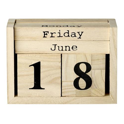 Image of   Bloomingville Kalender, Natur w/Sort L14xH10xW6,5 cm