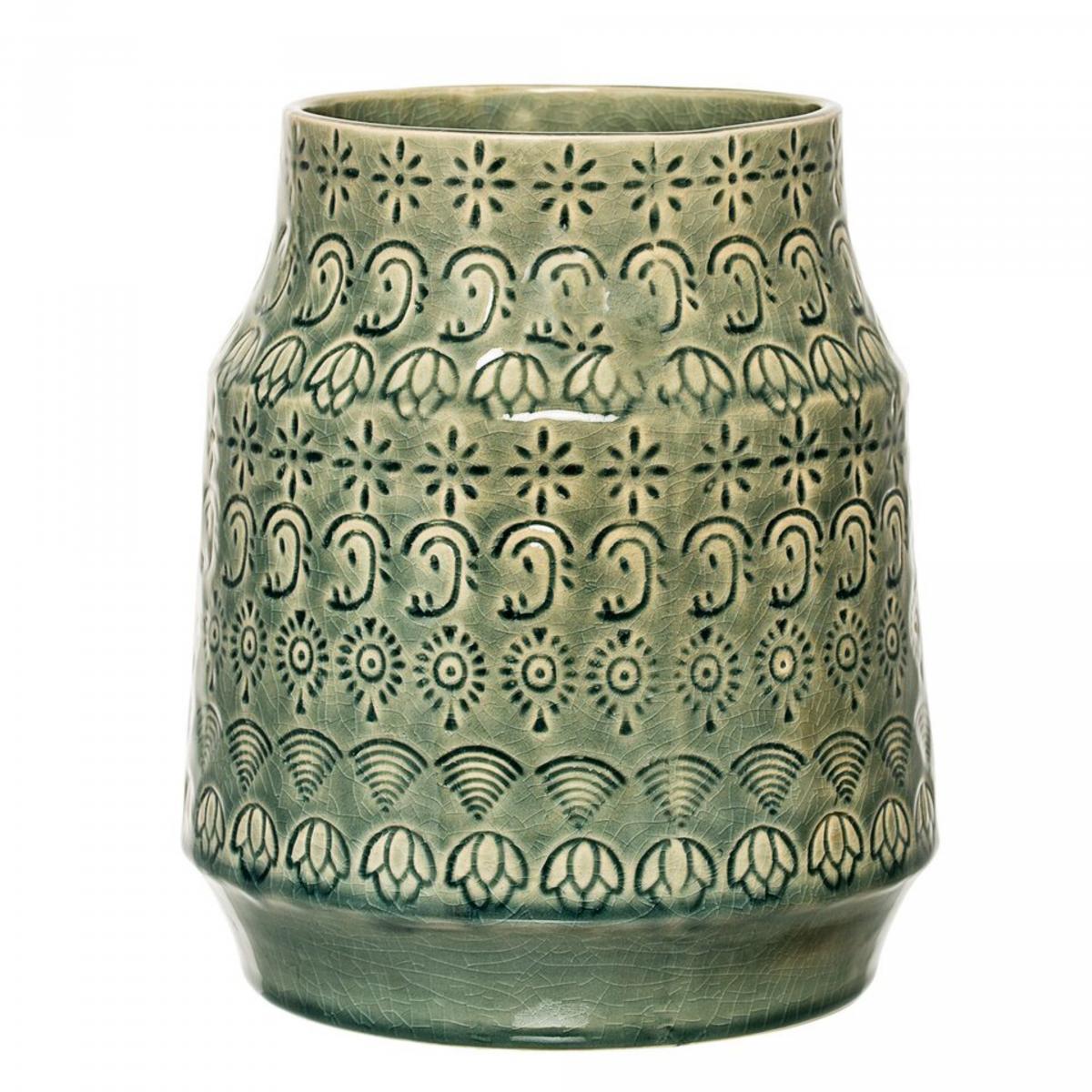 Image of   Bloomingville Vase, Grøn, Stentøj