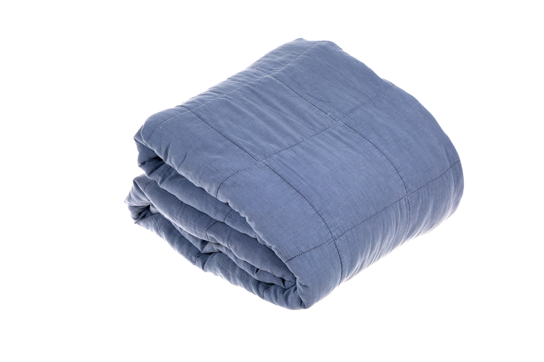 Image of   Sengetæppe bomuld, dusty blue, 240x260 cm
