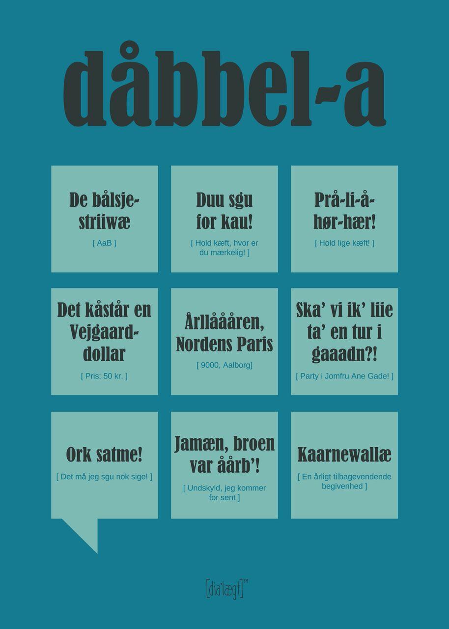 Image of   Dialægt Dåbbel-a Plakat 50x70 cm
