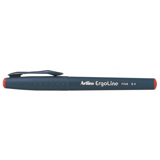 Artline Fineliner Ergoline Fine 0.4 röd, 12 st