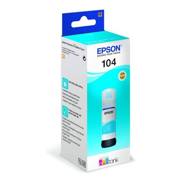 Epson T104 C EcoTank blækpatron – C13T00P240 – Cyan 70 ml
