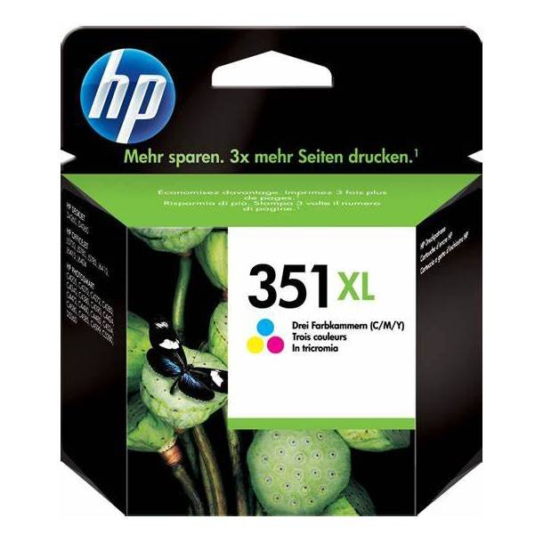 HP 351 XL CMY (CB338EE) med chip, 3 farve blækpatron,, 14 ml