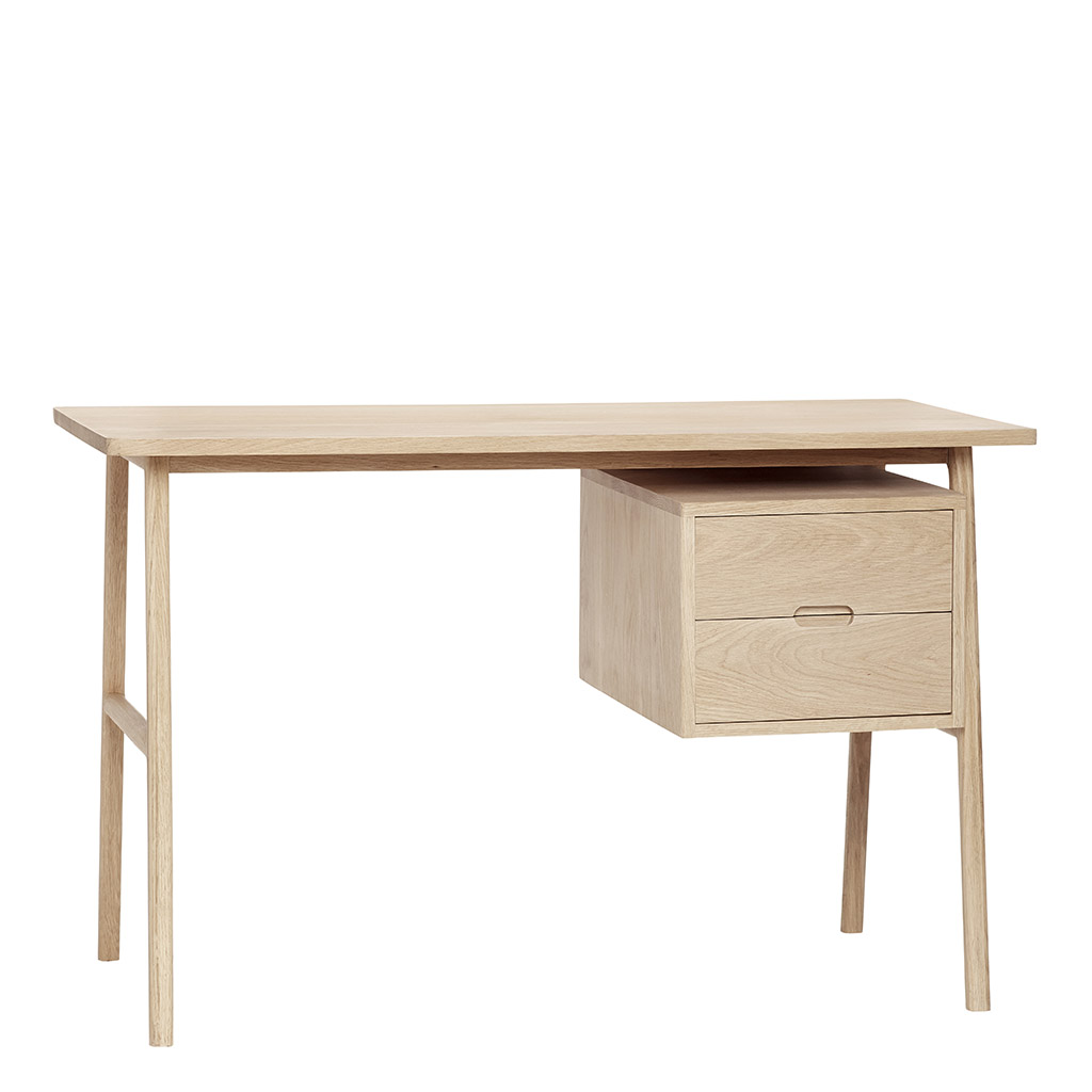 Hübsch Skrivebord m/skuffer, egetræ, natur