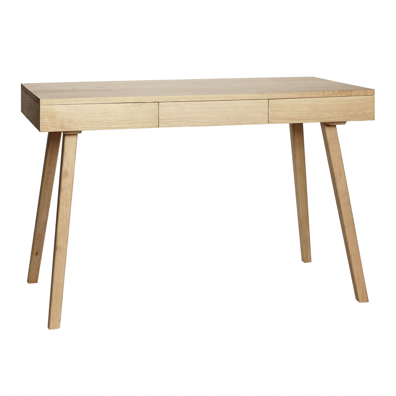 Hübsch Skrivebord m/3 skuffer (Egetræ)