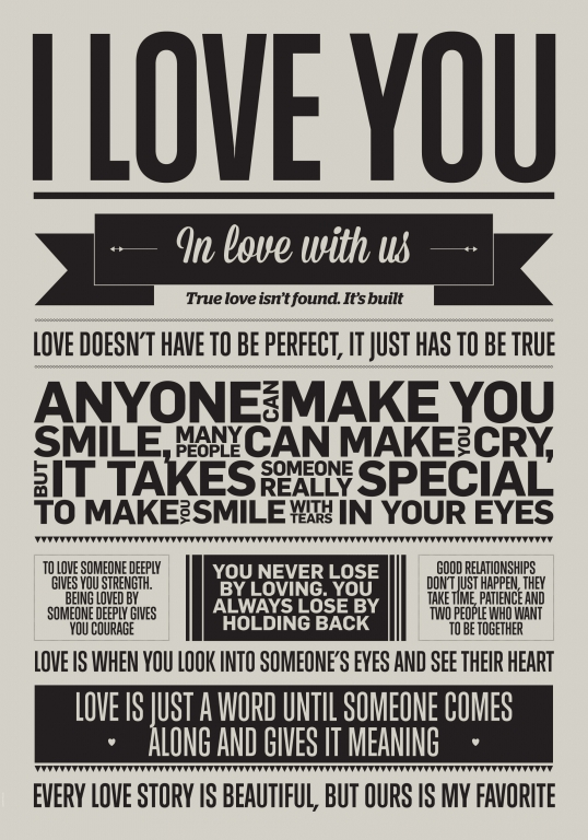 Plakat I Love My Type - I Love You (50x70 cm)