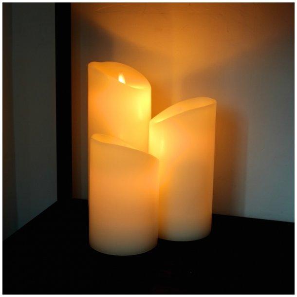 led stearinlys LED Stearinlys sæt af tre   ægte stearinlys med LED led stearinlys