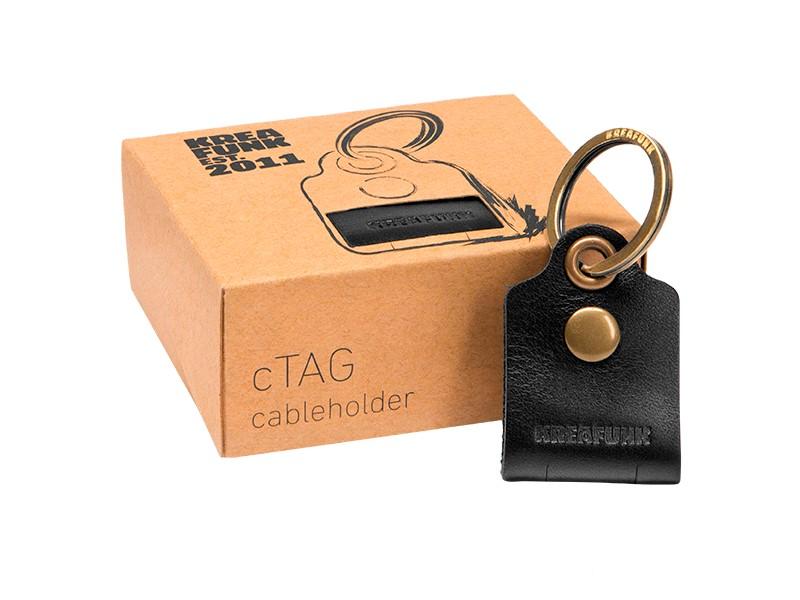 f081426f8c0 Kreafunk c-TAG Nøglering med kabelorganiser sort, læder - KREAFUNK ...