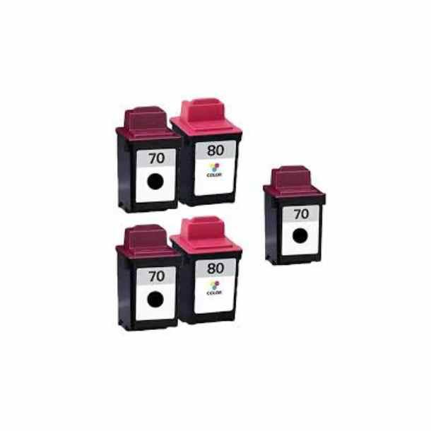 Kompatibel Lexmark 70 / 80 combo pack 5 stk bläckpatron 122 ml