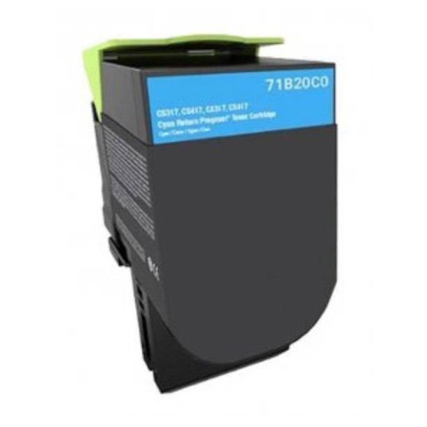 Lexmark CS317/CS417 C Lasertoner – 71B2OCO Cyan 2300 sider