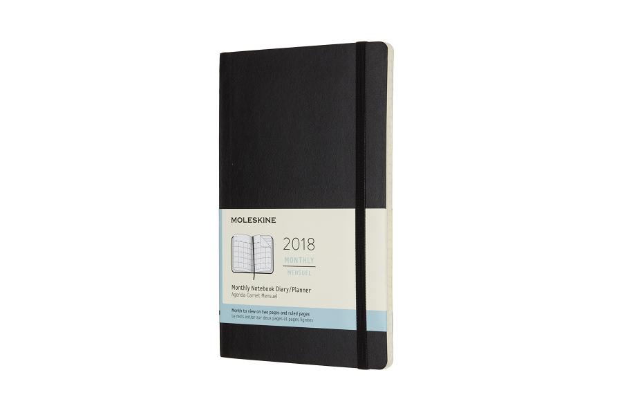 Image of   2018 Månedskalender, Moleskine, Large 13x21 cm, blød, sort