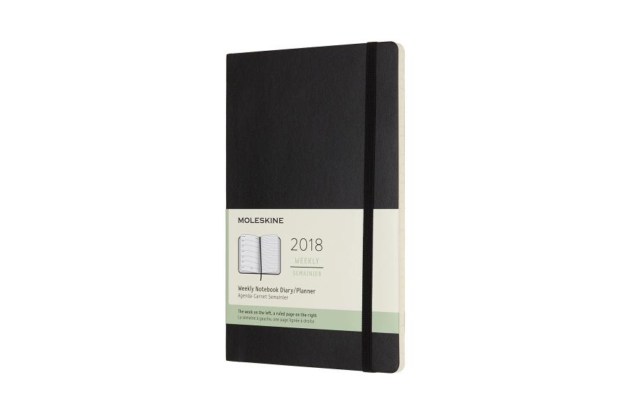 Image of   2018 Ugekalender, Moleskine, Notebook Large, 13x21 cm Blød Rød