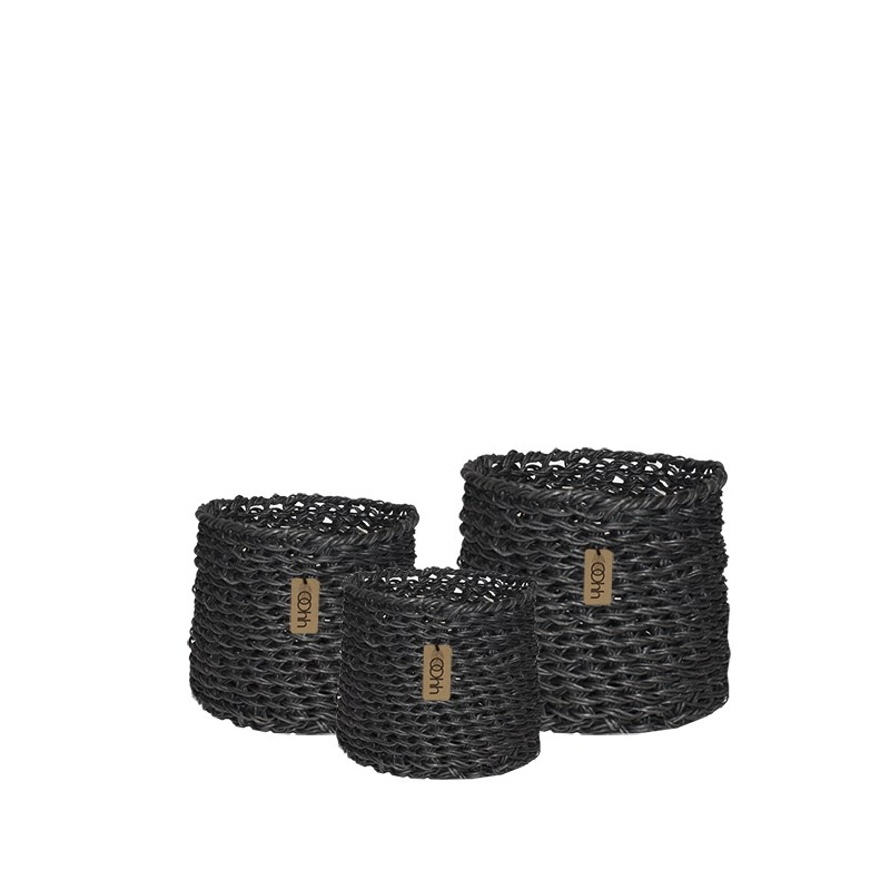 Image of   OOHH Woven Paper Baskets Set of 3, Black 14 X 14 / 18 X 18 /22 X 22