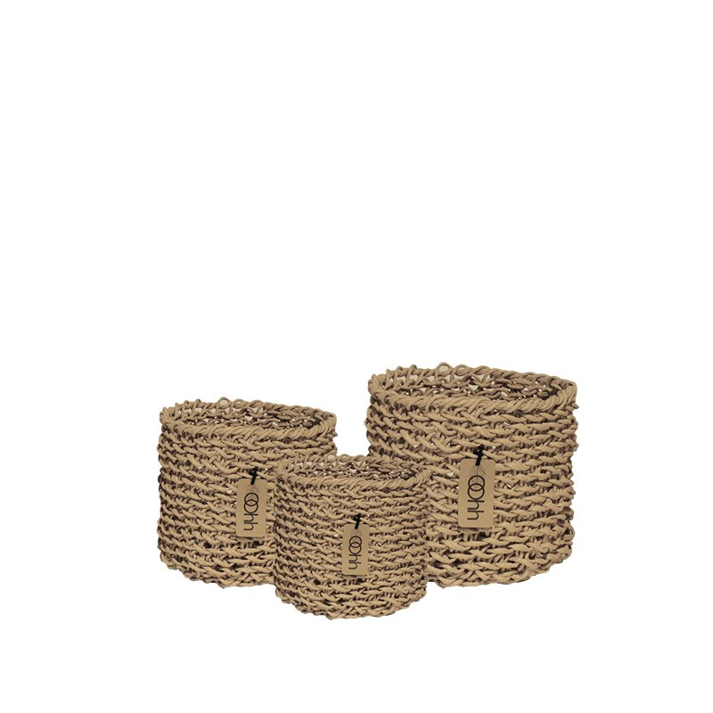 Image of   OOHH Woven Paper Baskets Set of 3, Natural 14 X 14 / 18 X 18 /22 X 22