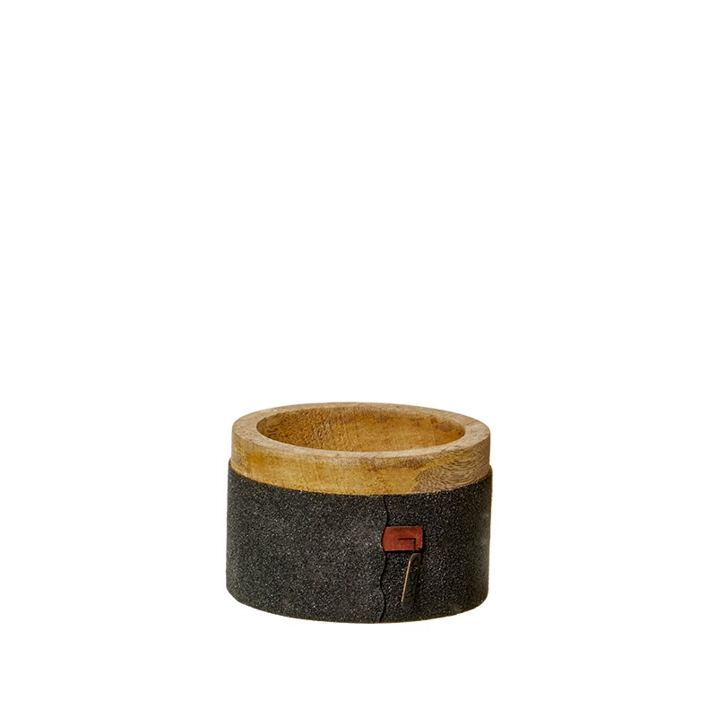 Image of   OOHH Wooden bowl w/sanded paper, Black D10 X H6,5