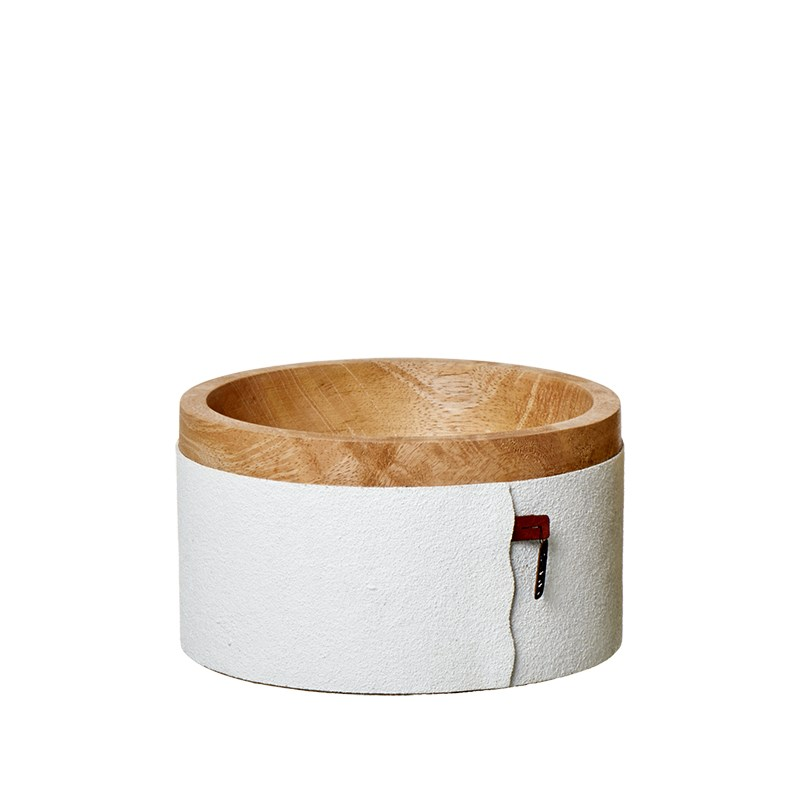 Image of   OOHH Wooden bowl w/sand paper, White D15 X H8,5