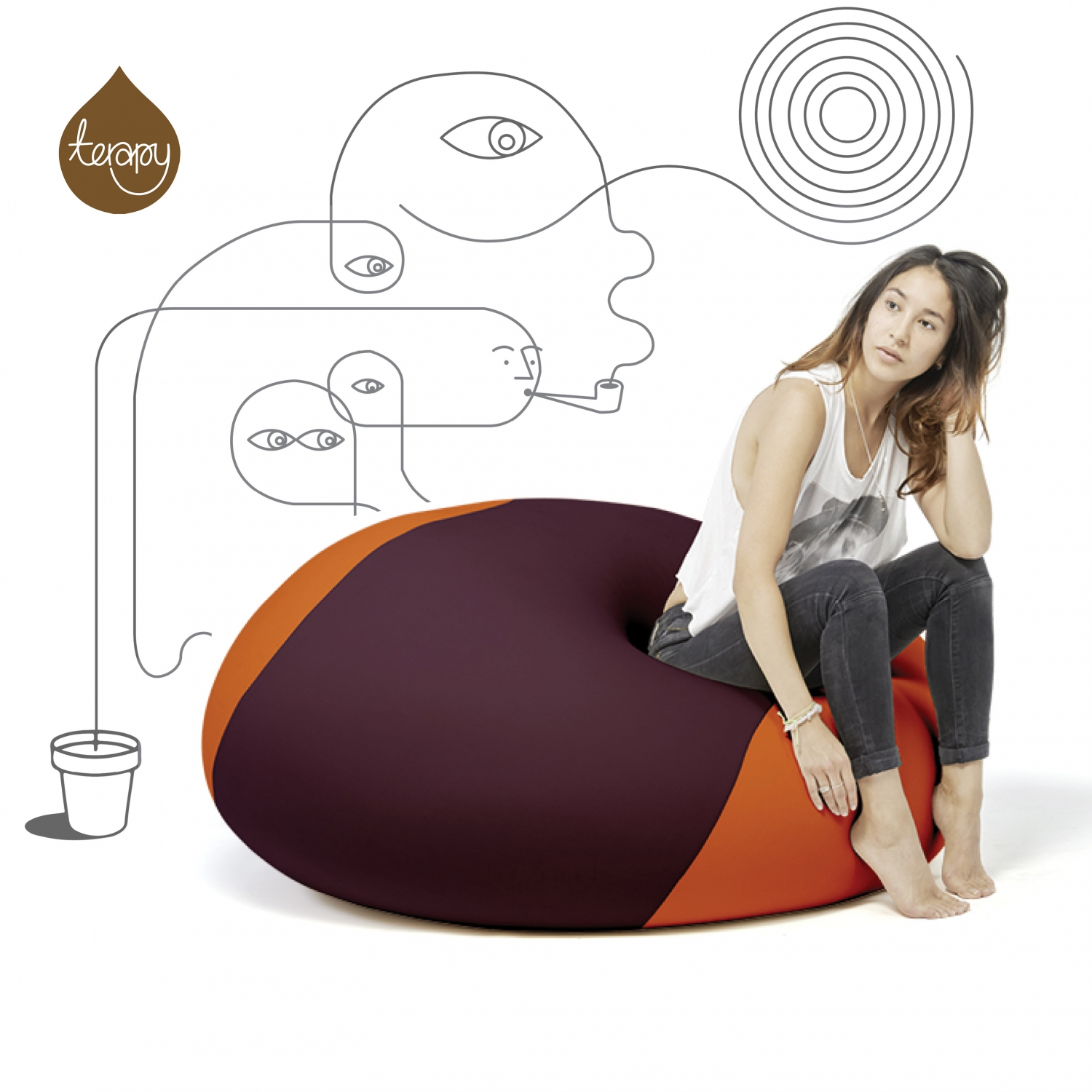 Image of   Ollie Terapy 100x100 (Aubergine/Orange)
