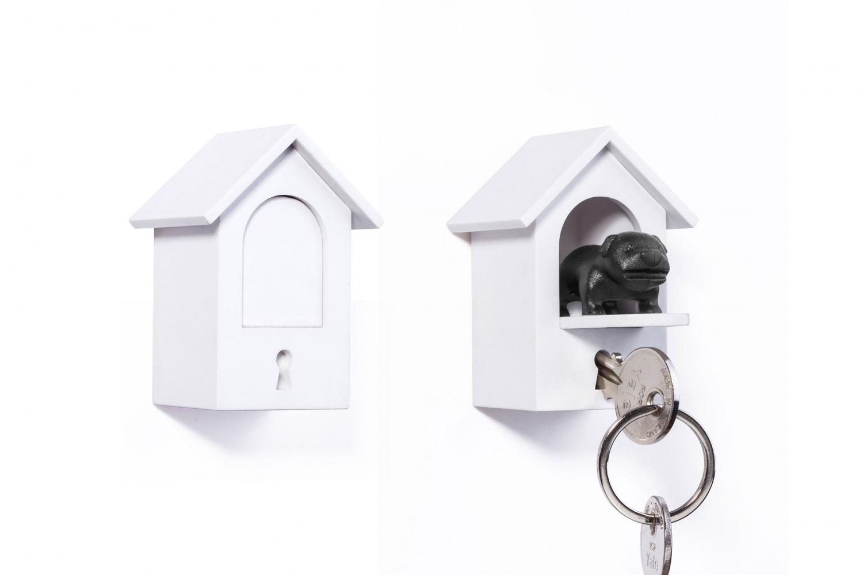 Qualy Vagthund Nøgleholder m/hus (Sort)