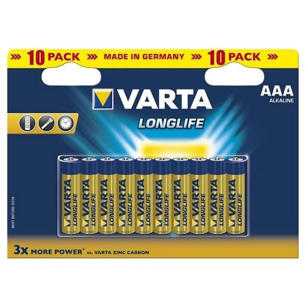Varta Longlife AAA Batterier - Pakke med 10 stk.