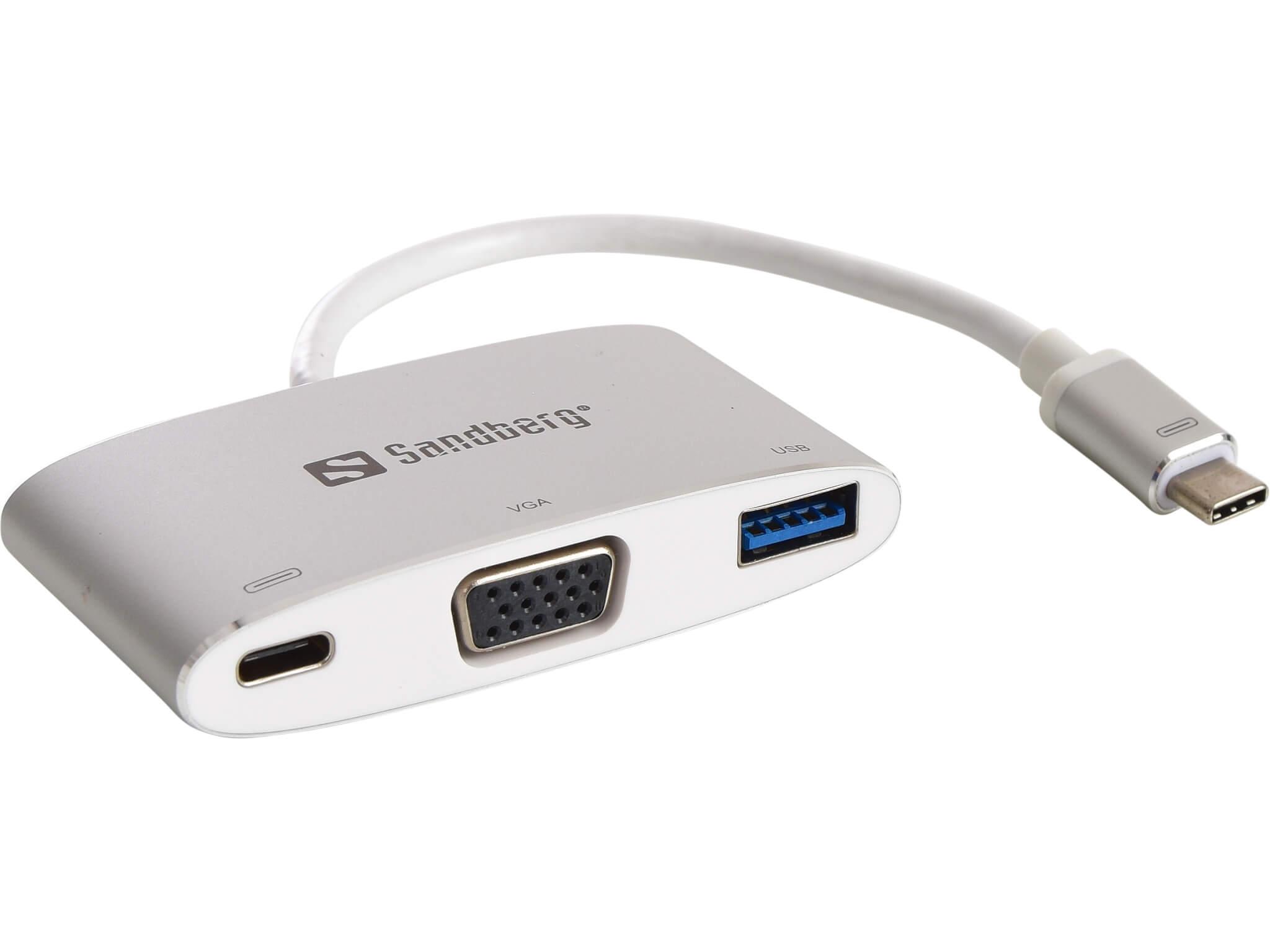 Image of   Sandberg USB-C Mini Dock VGA+USB, Hvid