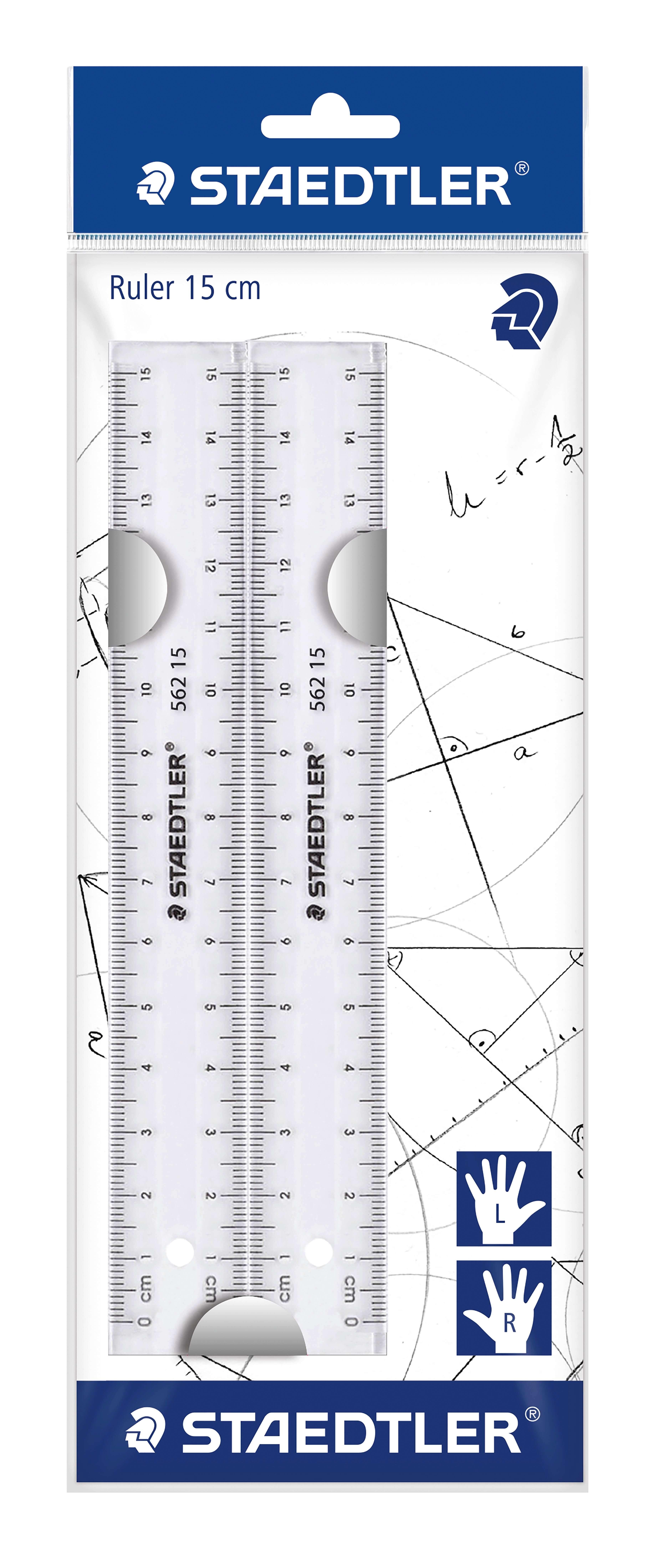 Staedtler transparent linjal 15cm 2 stk