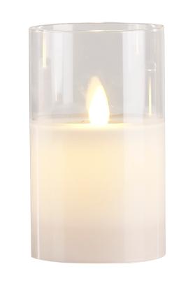Image of   Villa Collection LED bloklys m. timer & bevægelig flamme D 7,5 cm - H 12,5 cm
