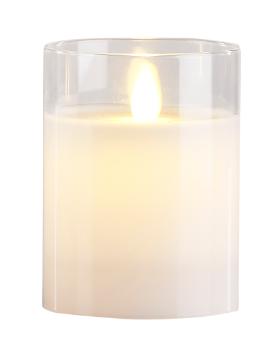Image of   Villa Collection LED bloklys m. timer & bevægelig flamme D 7,5 cm - H 10 cm