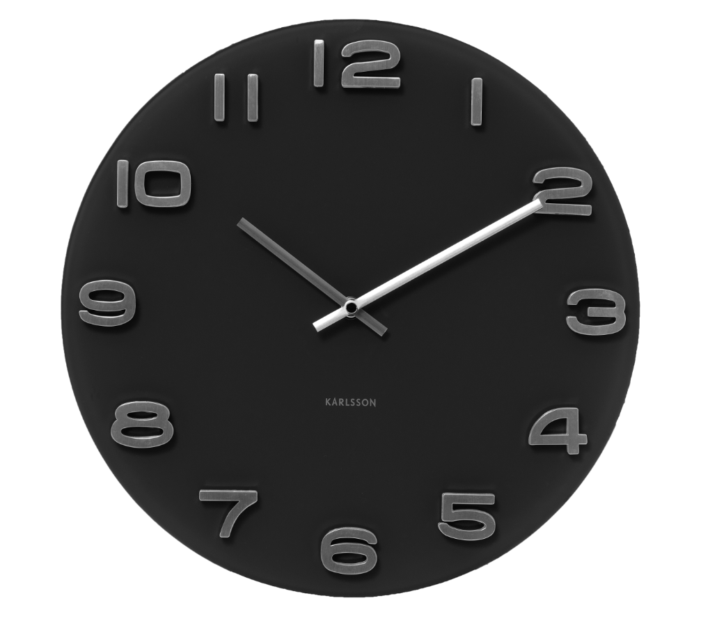 Karlsson Wall Clock Vintage Black Round Glass Karlsson