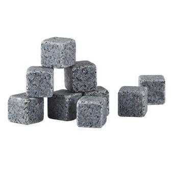 Whisky sten, gaveæske á 9 stk, granit, grå
