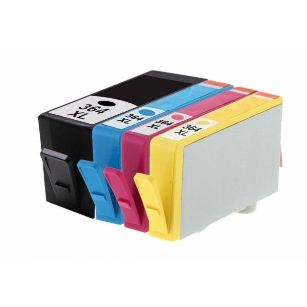HP 364 XL Sampak 4 stk. (1 stk sort 24 ml og 1 stk Cyan / magenta / gul 15ml) SM596EE, kompatibel