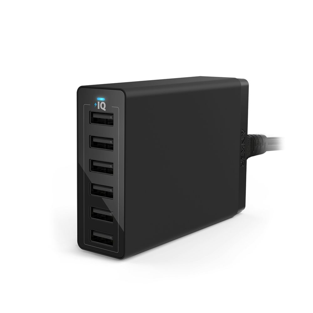 Image of   Anker PowerPort 6 USB Hub oplader, Sort