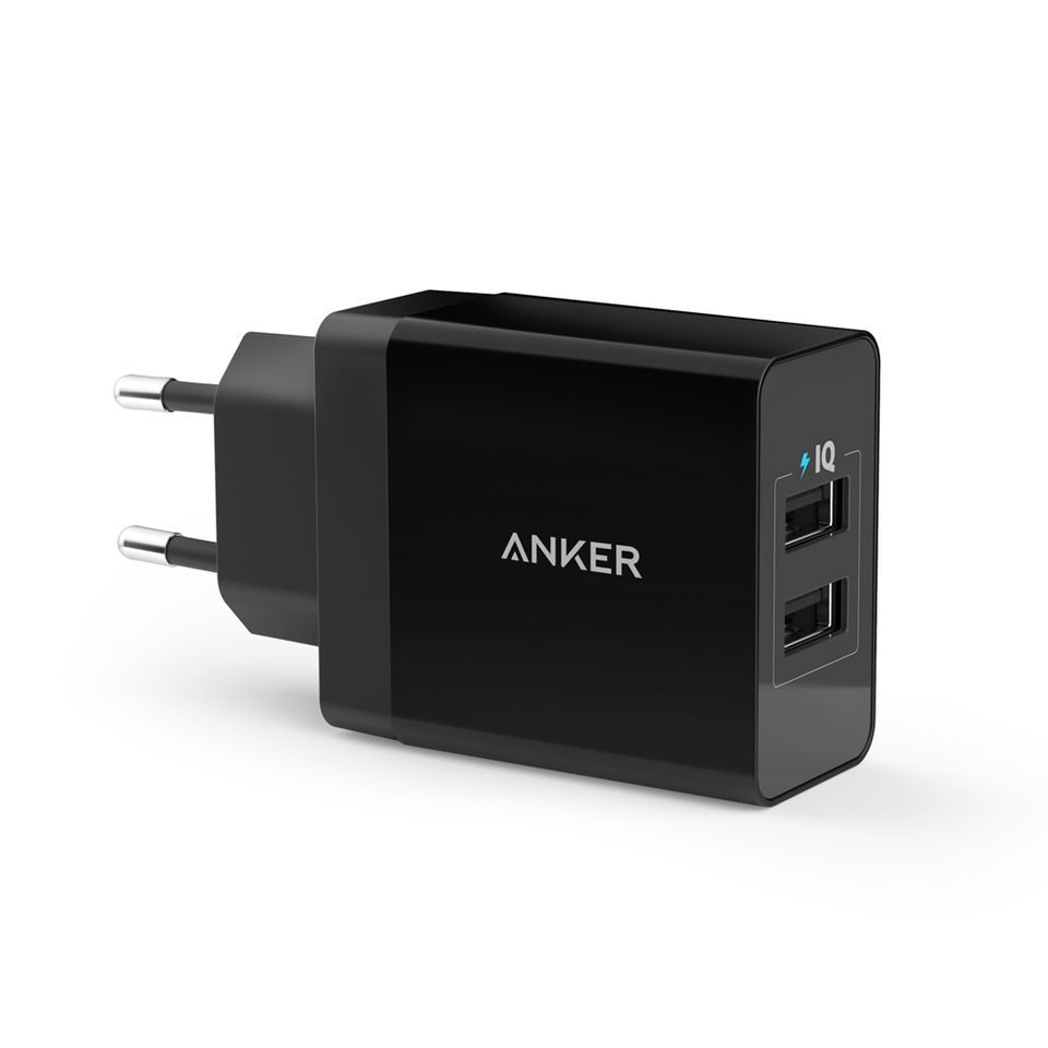 Image of   Anker 2-port USB vægoplader, 24W & 4.8A, Sort