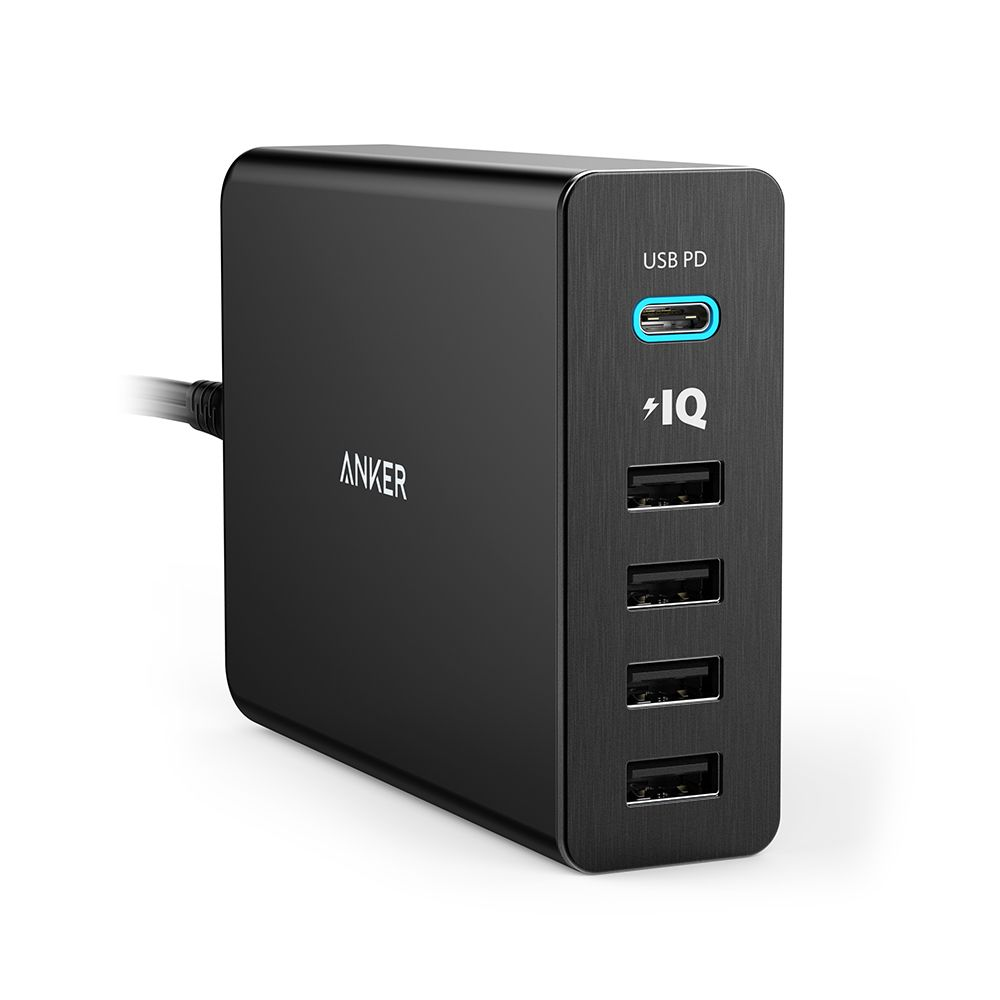Image of Anker PowerPort+ 5 USB hub oplader, 60W USB-C, Sort