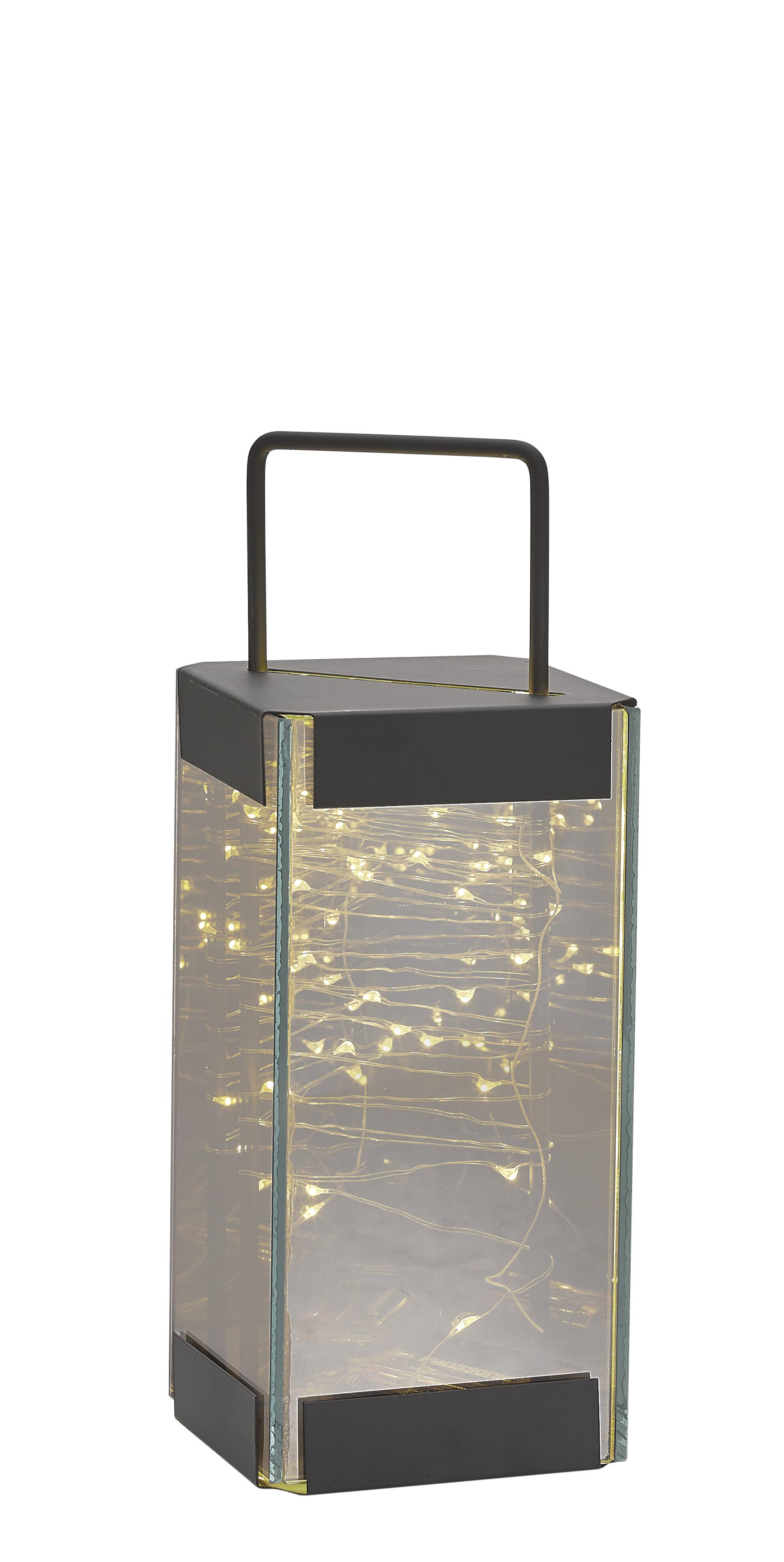 Image of   Villa Collection Lanterne m. LED lys m. timer. Røgfarvet, Sort. H 25,0cm, L 10,0cm, B 10,0cm