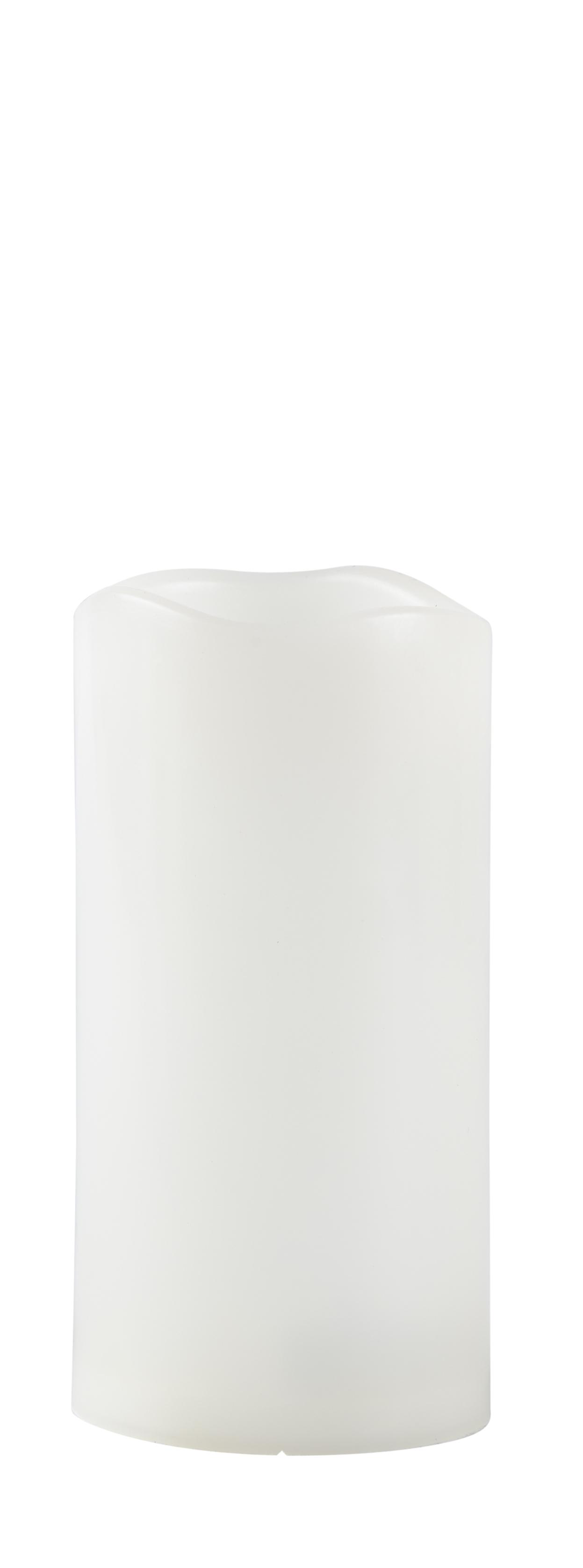Image of   LED bloklys m. timer. Plast. Hvid. Glat. Flere str. D 7,5, H 10 cm