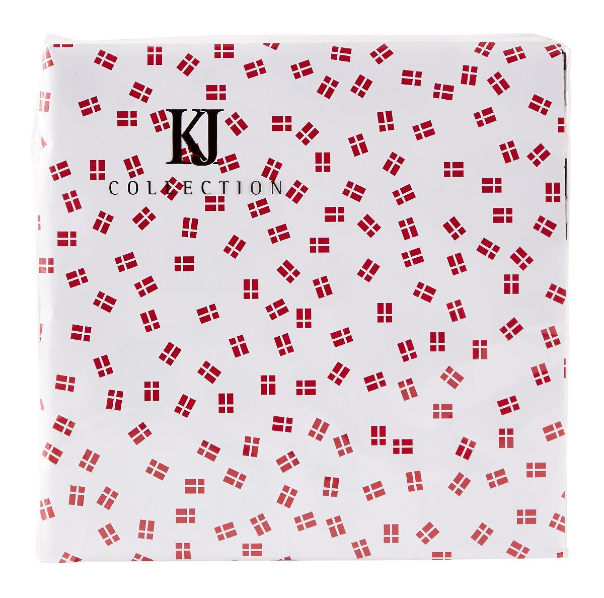 KJ Collection Serviet m. dansk flag, 3-lags papir - Hvid/Rød - L 33