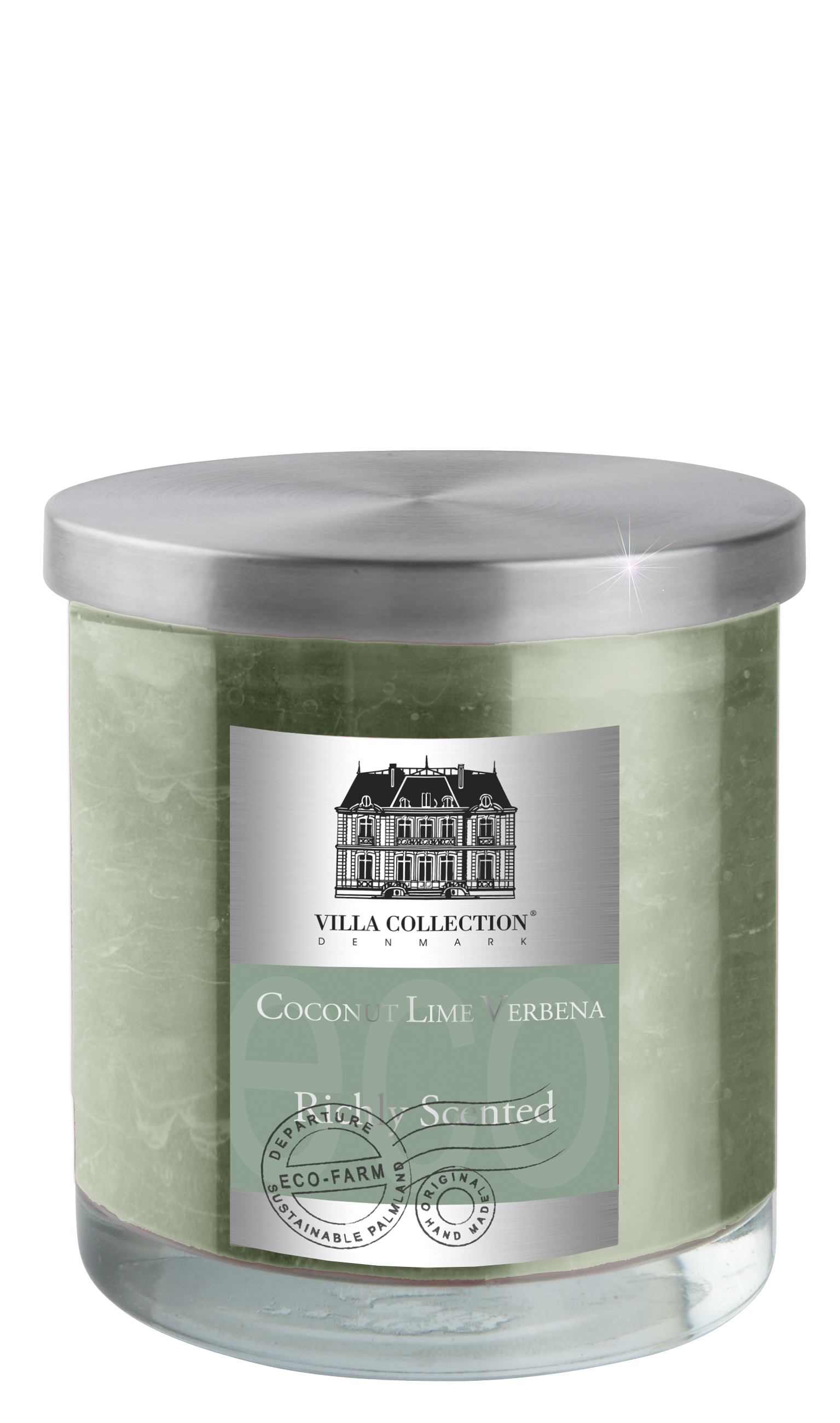 Image of   Duftlys i glas Støvgrøn, Coconut & Lime