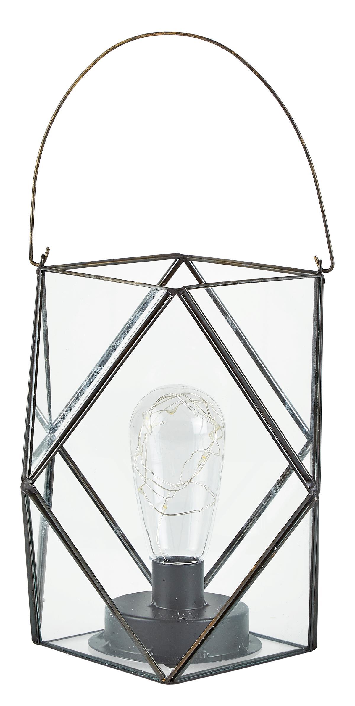 Image of   Villa Collection Lanterne m. LED Metal / Glas Sort Klar D 20,5cm