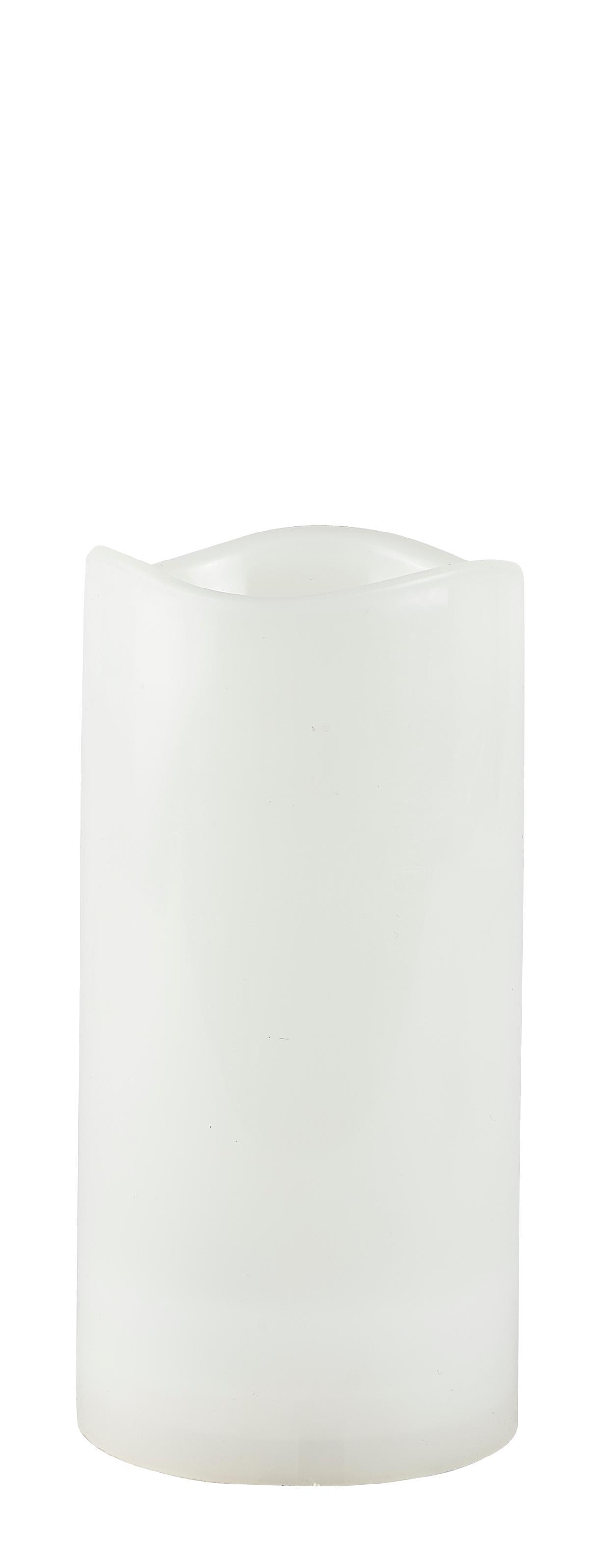 Image of   Villa Collection LED bloklys m. timer PP Hvid, Glat D 10 cm H 20 cm