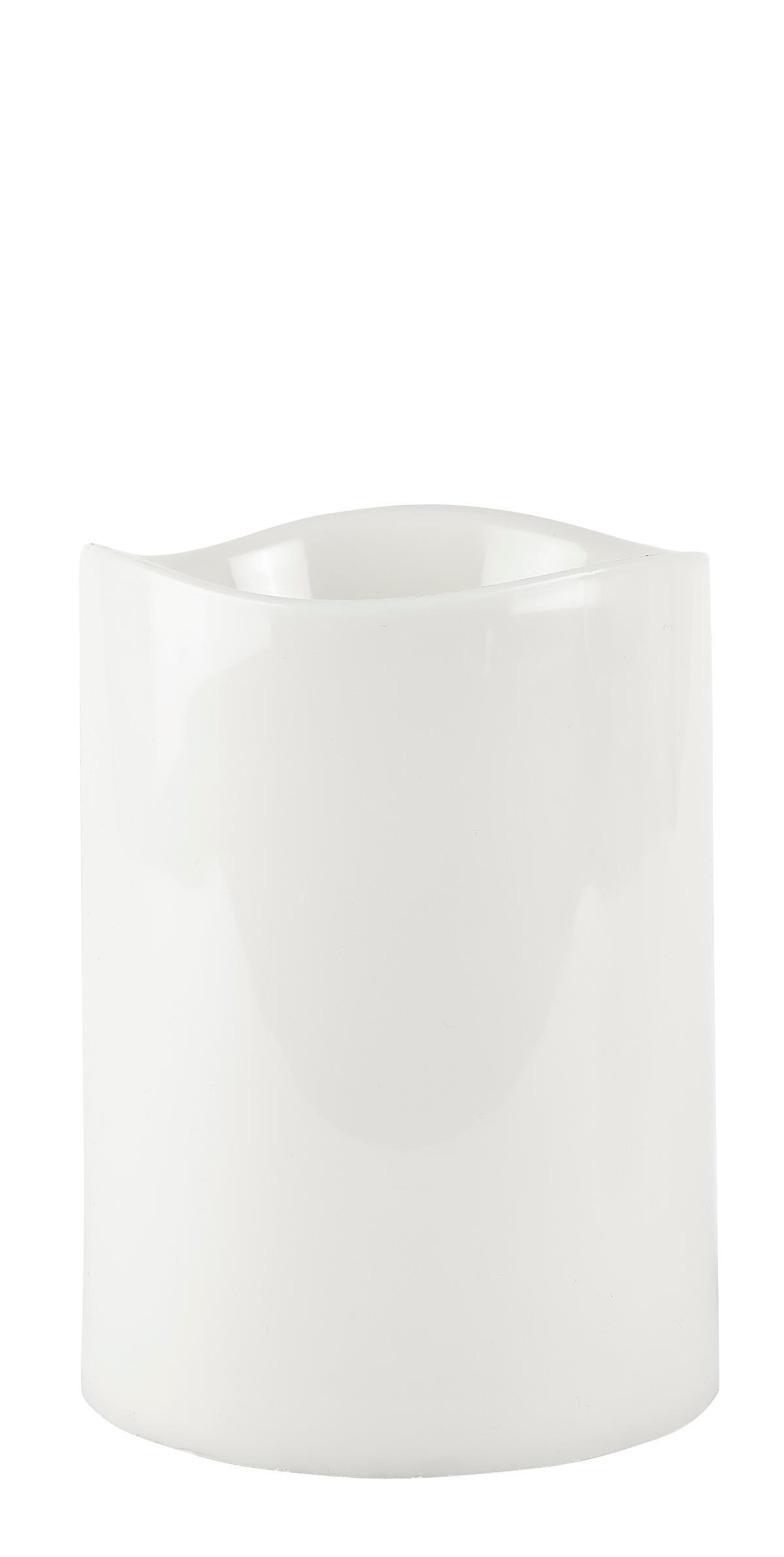 Image of   Villa Collection LED bloklys m. timer PP Hvid, Glat D 15 cm H 20 cm