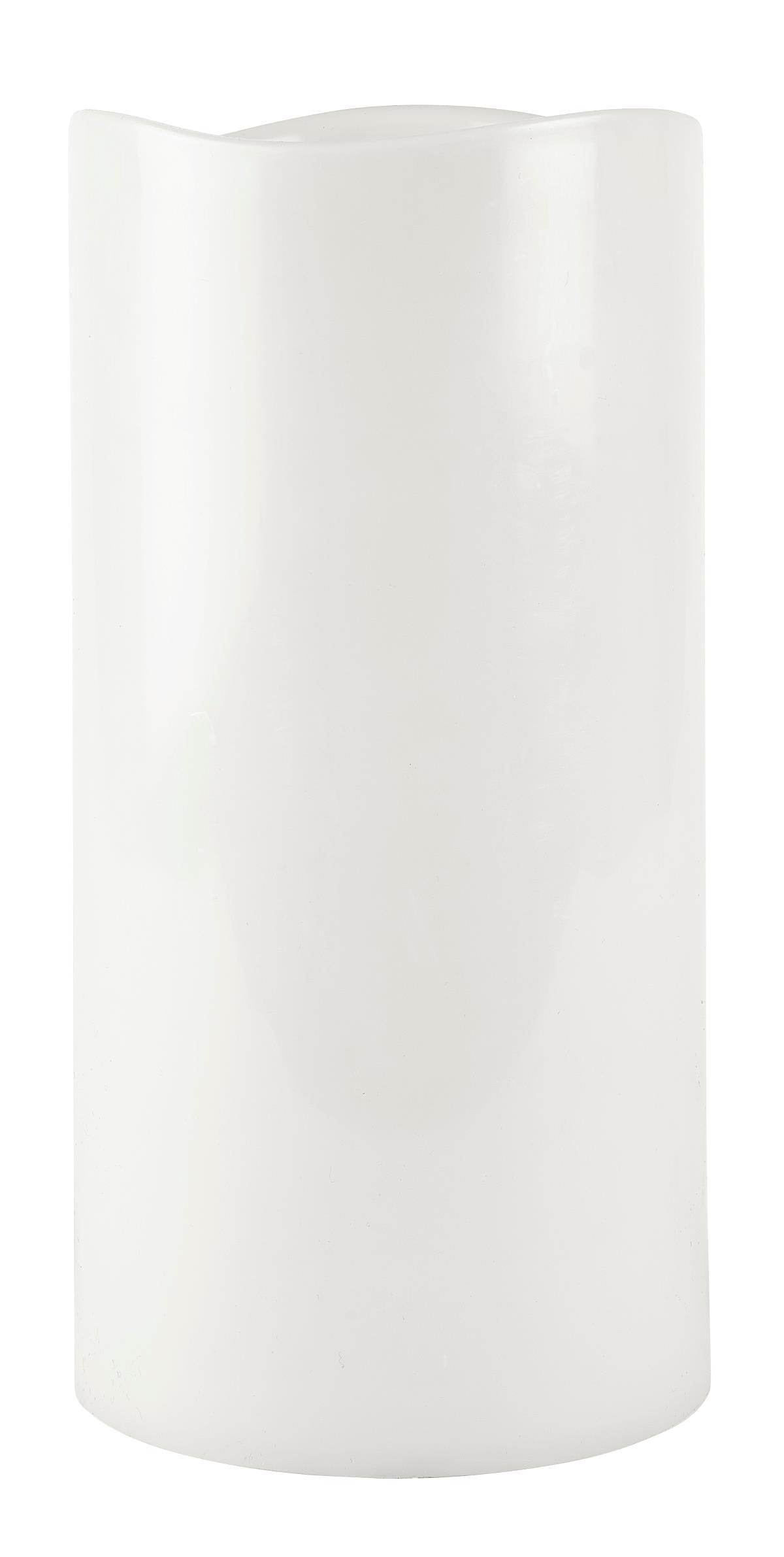 Image of   Villa Collection LED bloklys m. timer PP Hvid, Glat D 15 cm H 30 cm