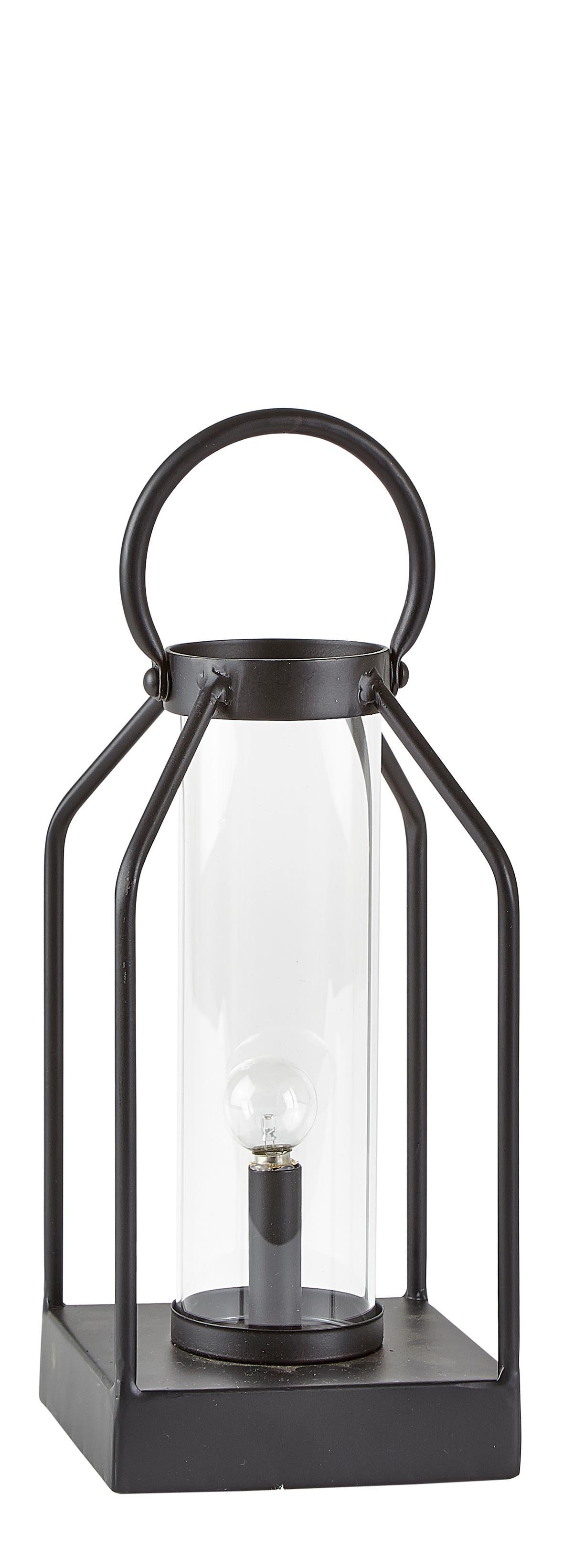 Image of   Villa Collection Lanterne m. LED Metal / Glas Sort H 25 cm L 12 cm