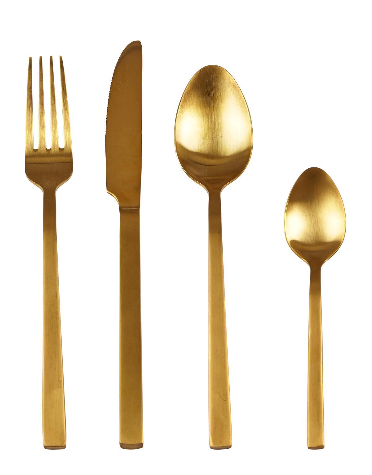 Image of   Villa Collection Bestik 16 dele 18/8 stål 18/0 stål Guld H 0,7cm