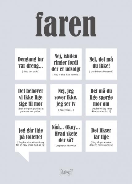 Image of   Dialægt Faren Plakat, A3 el. 50X70 cm 50x70 cm