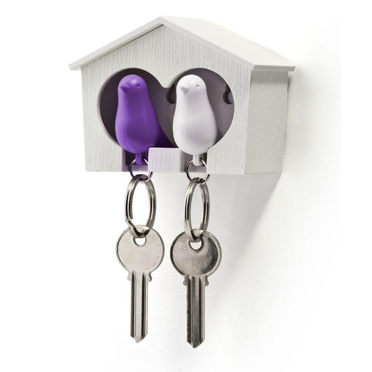 Image of   Qualy design Hvid Dobbelt Nøgleholder med Lilla & Hvid fugl