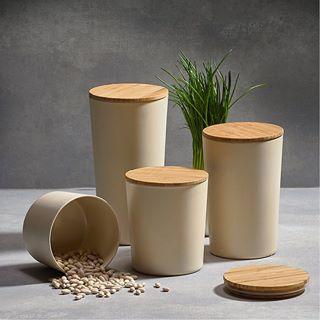 Krukke m. låg, Galzone, Bambus D 12,0 cm, H 14,0 cm, 1,00L Sort