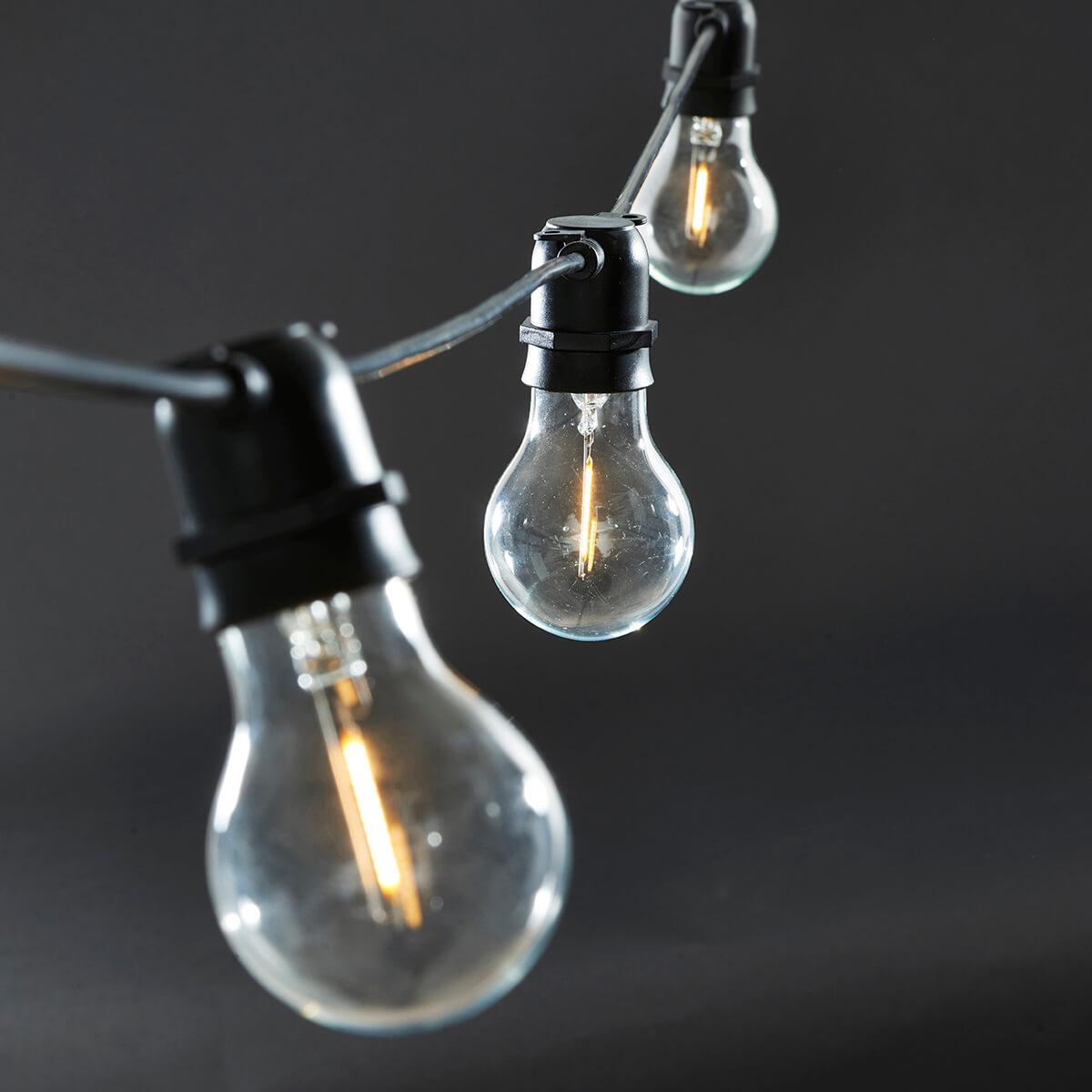 Fin House Doctor Lyskæde, Sort 10 LED pærer | Køb Funktion lyskæde her FN-28