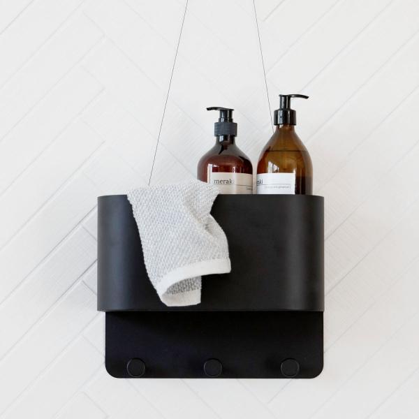 Image of   House Doctor Knag/lomme til væg, Pock, sort, 30x15 cm, h.: 24 cm