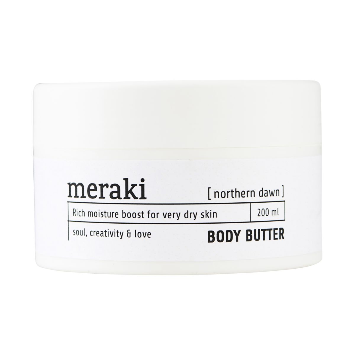 Meraki body butter, Northern dawn, 200 ml. 10,5 cm