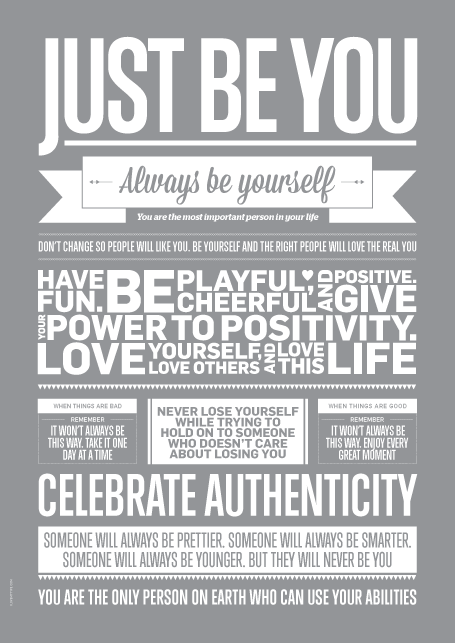Plakat I Love My Type - Just Be You Grå (50x70 cm)